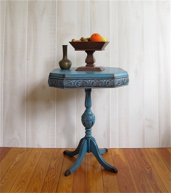 Beautiful Blue Antique Table - Small - Accent Table