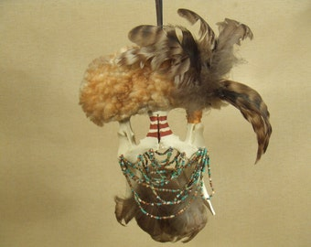 Tribal shaman coyote mask -- animal bone pelvis with feathers and beaded - hand painted