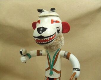 Native American Indian kachina gourd art - bear totem kachina