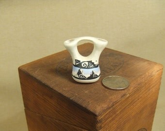 Native American Indian wedding vase - hand painted pottery miniature
