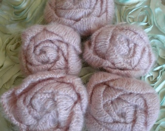 Pale Pink Soft Knitted Rose Pins