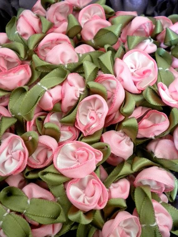 Pink Satin Ribbon Rosettes