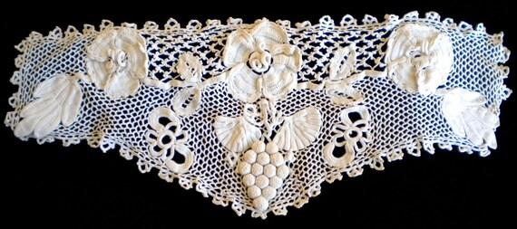 Handmade Victorian Irish Crochet Floral Insert