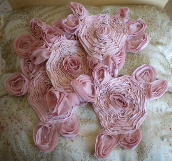 RESERVED for TRACEY Pale Pink Rose Chiffon Poly Rosettes