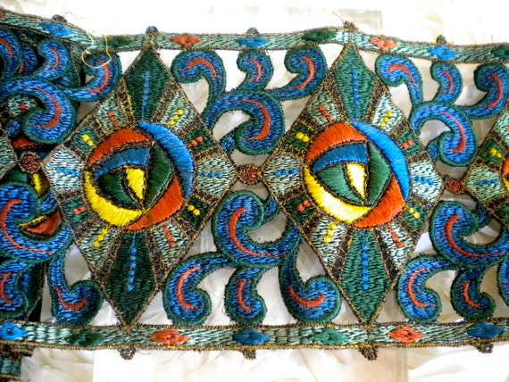 1920's Multi Colored Threaded Trim
