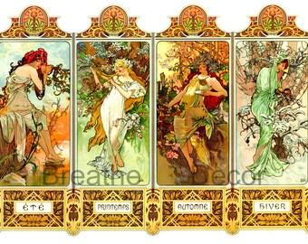 Four Seasons Digital Download Vintage Alphonse Mucha Colorful Art Print