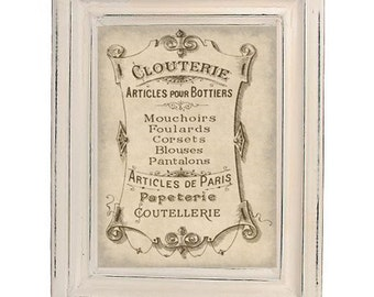 Antiqued French Lingerie Clouterie Adverting Print Digital Download Paris France