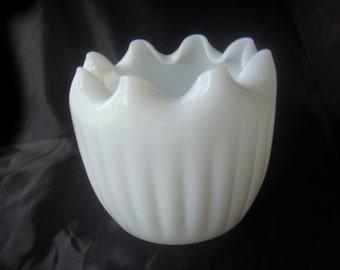 Vintage Milk Glass Rose Bowl Bud Vase