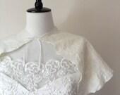 Bridal Cape Capelet Wedding Shawl Wrap White Ivory