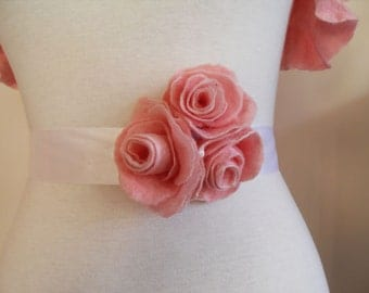 Bridal Sash Bridal Belt Wedding Sash or PROM with Pink Rose Flower Sash