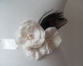 Bridal Sash Bridal Belt Peacock Wedding Sash or PROM with Rose Flower Sash Fresh Water Pearls and Peacock feather