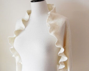 Bridal Bolero Jacket Shrug Ivory Wedding felted Wool and Silk 3/4 sleeves