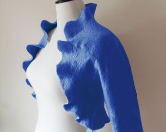 Bridal Jacket Bolero Shrug Royal Blue Wedding Jacket Wool Felted