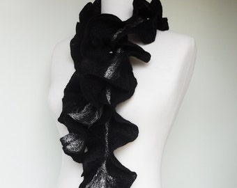 Scarf Ruffle style Wavy Scarf Black & White Felted Super Soft Warm winter scarf - gift for her under 45