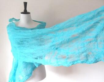 Felted Shawl Scarf Wraps Shawls for all seasons aquamarine Felted cobweb