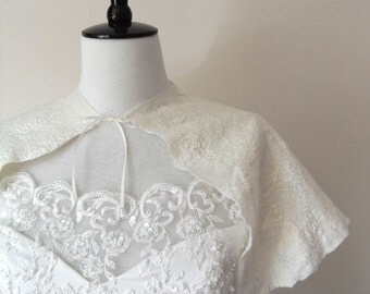 Bridal Cape Capelet Wedding Shawl Wrap White Ivory