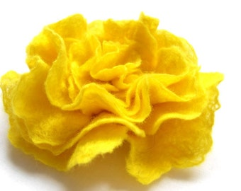 Felted Flower Brooch Pin Corsage Wool Sunshine Yellow and Hair Clip gift for her under 25