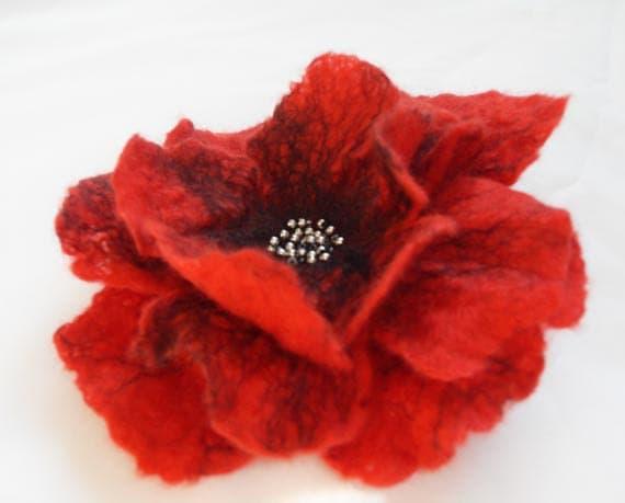 Poppy Flower Hair Clip Felted Hair Accessories Hair Fascinator Wool Hair Clips Bridesmaid Hair Flower gift under 25