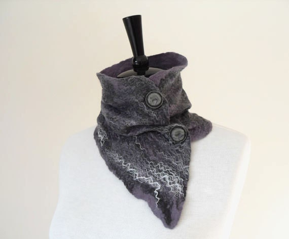 SALE Felted Wool Scarf Neck Collar Neck Warmer Scarflette Grey / Gray Warm Wool Fashion Winter Scarf ideal Gift for her or him unisex