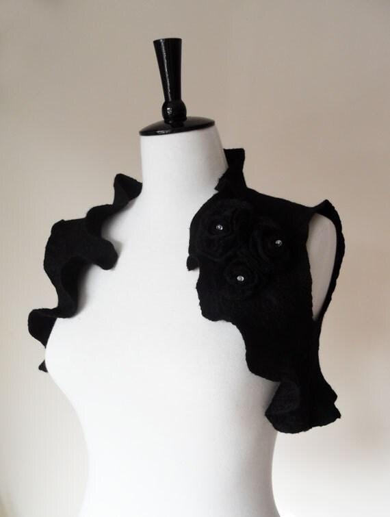 Bridal Bolero Shrug Black Gothic Wedding Steampunk Wedding Bolero Jacket Shawl Wrap Wool silk Felted with Rose Black Flowers