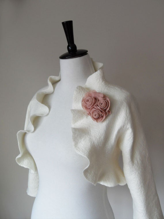 Bridal Jacket Bolero Shrug Ivory White Wedding Jacket 3/4 Sleeves Wool and Silk Felted with Blush Rose Flowers