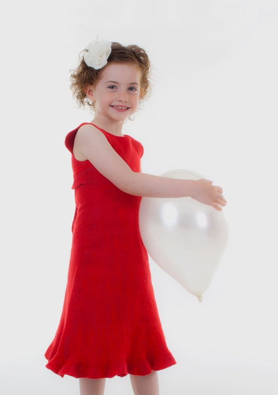 Red Girls Dress eco friendly toddler childrens by ...