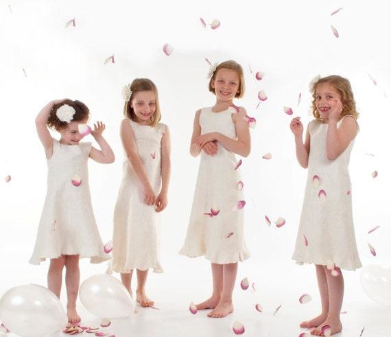 Ivory Flower Girl Dress eco friendly felted wool