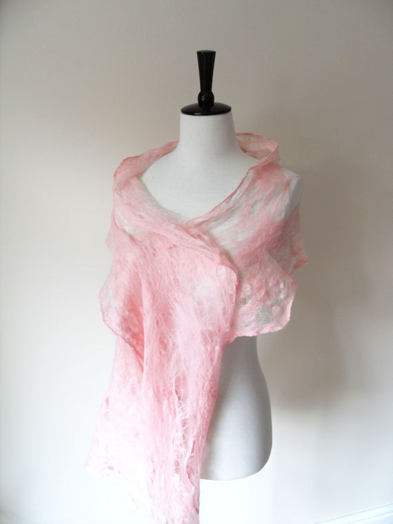 Soft Pink Felted Cobweb Shawl Scarf Wraps Shawls for all seasons