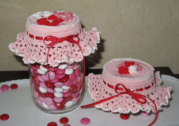 Crochet Patterns Jar Covers : Crochet pattern Jar Top-ography thread jar lid cover by SSKnits