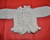 Olivia Jacket: Crochet Baby Jacket Patten with Openwork Back and Ruffled Edging