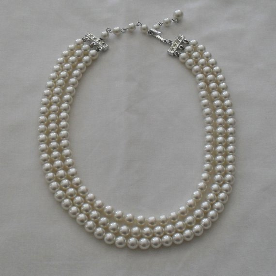 Vintage Pearl Necklace Multi Strand SALE 20 Percent Off