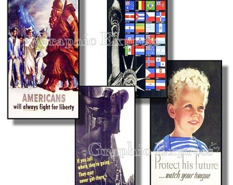Collage Sheet: World War Two Home Front Posters 1 x 2 inch Tiles Printable Jpeg File -   no. 024