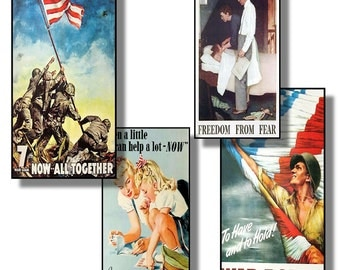 Collage Sheet:  World War Two Buy Bonds Posters 1 x 2 inch Collage Tiles Jpeg  Digital File   no. 042
