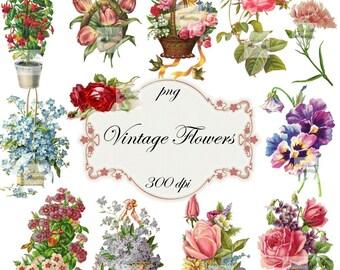 Clip Art:  Flowers Vintage Png Digital Files no 041
