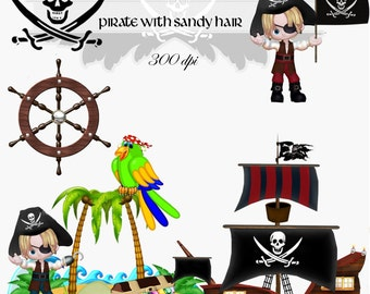 Clip Art: Pirate with Sandy Hair   transparent png Digital Files   no. 008