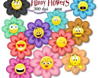 Clip Art:  Funny Flowers Smileys   Png Digital Files no 0100
