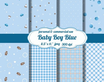 "Digital Papers: Baby Boy Blue  8.5"" x 11"" JPEG sheets   Digital File    no 104"