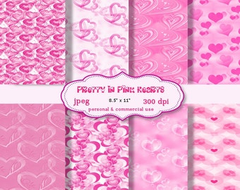 Digital  Paper: Pretty In Pink Hearts  8.5 x 11  JPEG sheets    no 119