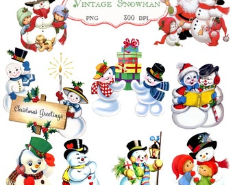 Clip Art: Vintage Snowman    Transparent Png  Files 076