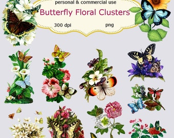 Clip Art: Vintage Butterfly Floral Clusters  Png Digital Files no125