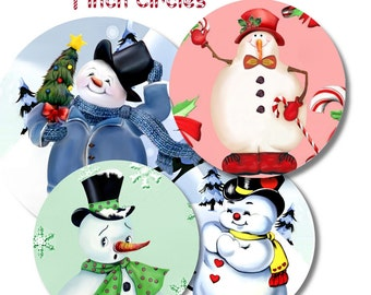 Collage Sheet: Snowman  1 inch Circles jpeg Digital File   no. 077