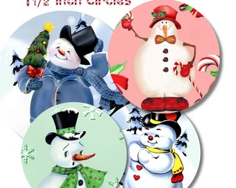 Collage Sheet: Snowman  1.5 inch Circles jpeg Digital File   no. 073
