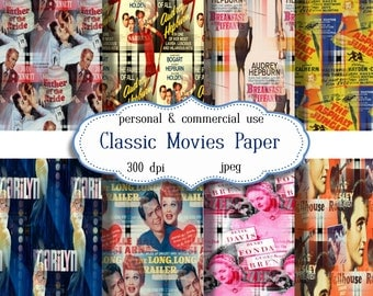 Digital Papers: Classic Movies 8.5 x 11 digital JPEG sheets   no 129
