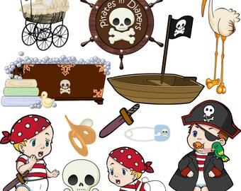 Clip Art Pirates in Diapers   transparent png Digital Files   no. 062
