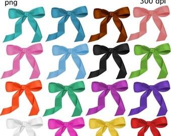 Clip Art:  Set of 16 Bows   Transparent Png  Files 143