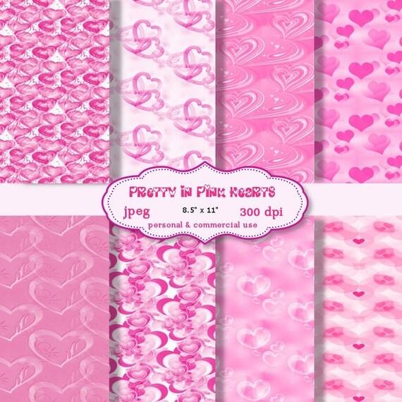 Digital  Paper: Pretty In Pink Hearts  8.5 x 11  JPEG sheets    no 119