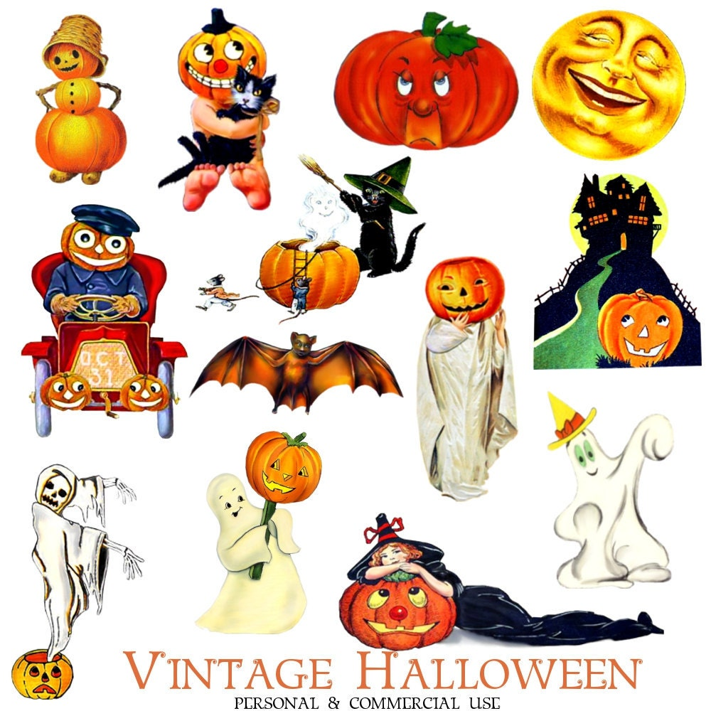 Clip Art: Halloween from Vintage Greeting Cards by graphicexpress: https://etsy.com/listing/80414887/clip-art-halloween-from-vintage...