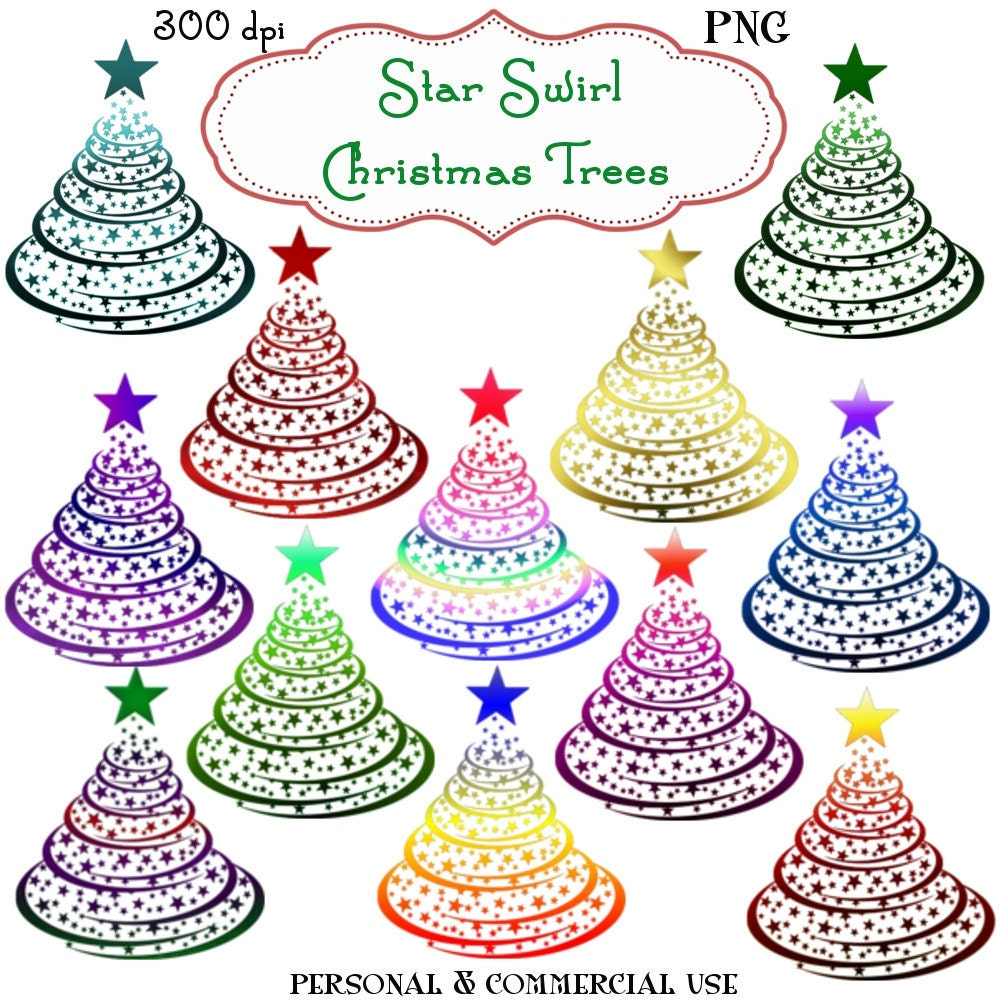Commercial Christmas Trees From 12 To 100 In Height: Clip Art: Christmas Star Swirl Trees Png Digital Files No 111