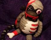 Brian The Zombie Sock Monkey - Handmade Plush Doll Toy
