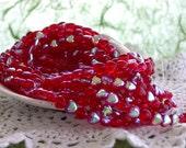 Heart Beads, Czech Glass Heart Beads, Ruby A.B. Heart Beads, Hearts, Red Heart Beads  CZ-083